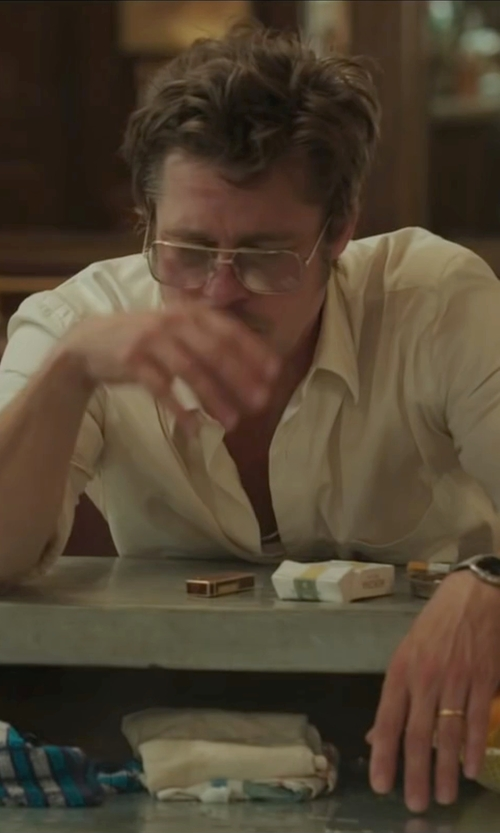 Brad Pitt with Tom Ford Square Two-Tone Optical Frames Eyeglasses in By the Sea