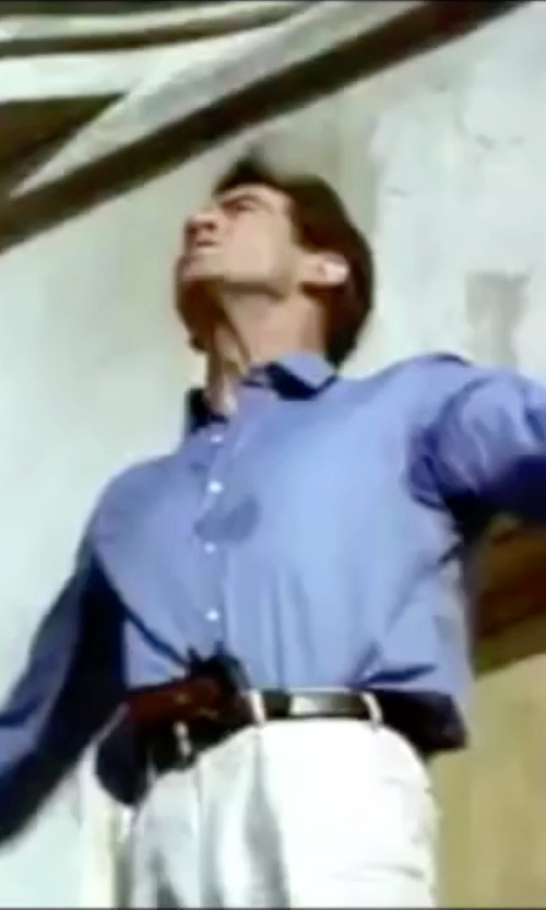 Pierce Brosnan with Hugo Boss Spread-Collar End-On-End Shirt in The World is Not Enough