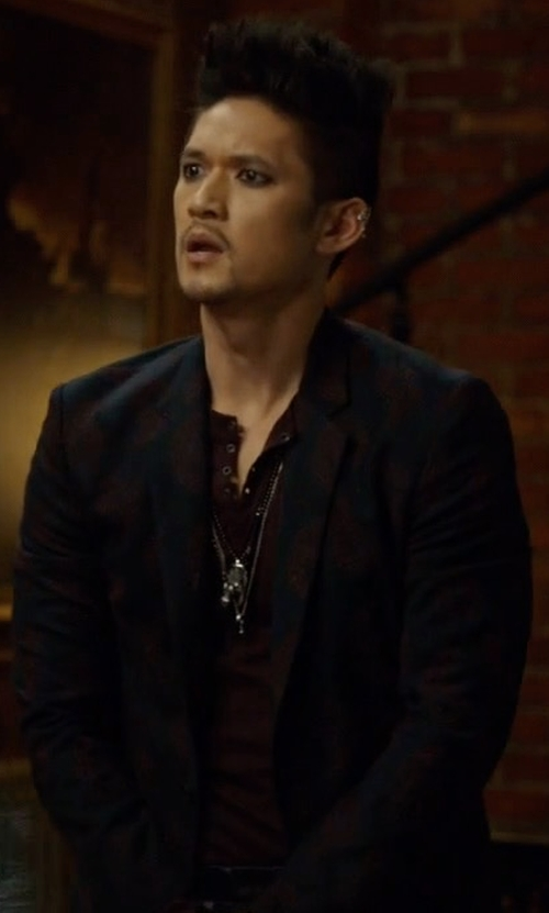 Harry Shum Jr. with Paul Smith Cashmere Embroidered Paisley Blazer in Shadowhunters