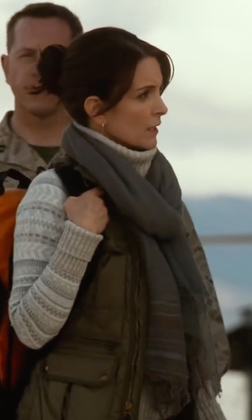 Tina Fey with Saachi Lurex Stripped Scarf in Whiskey Tango Foxtrot
