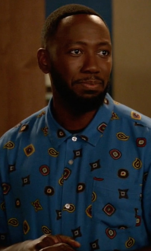 Lamorne Morris with Zachary Prell Furniss Palm-Print Sport Shirt in New Girl