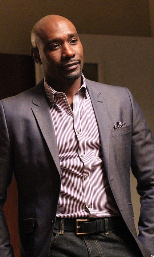 Morris Chestnut with W.R.K Dot Silk Pocket Square in Rosewood