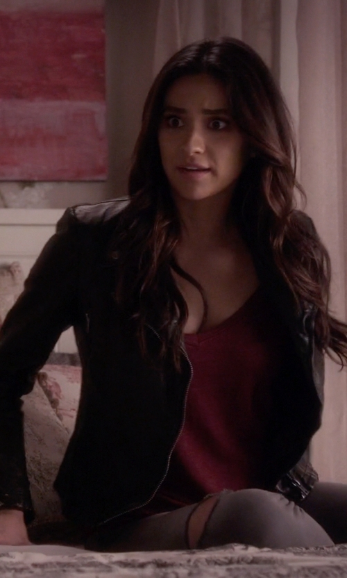 Shay Mitchell with Free People Distressed Faux Leather Moto Jacket in Pretty Little Liars