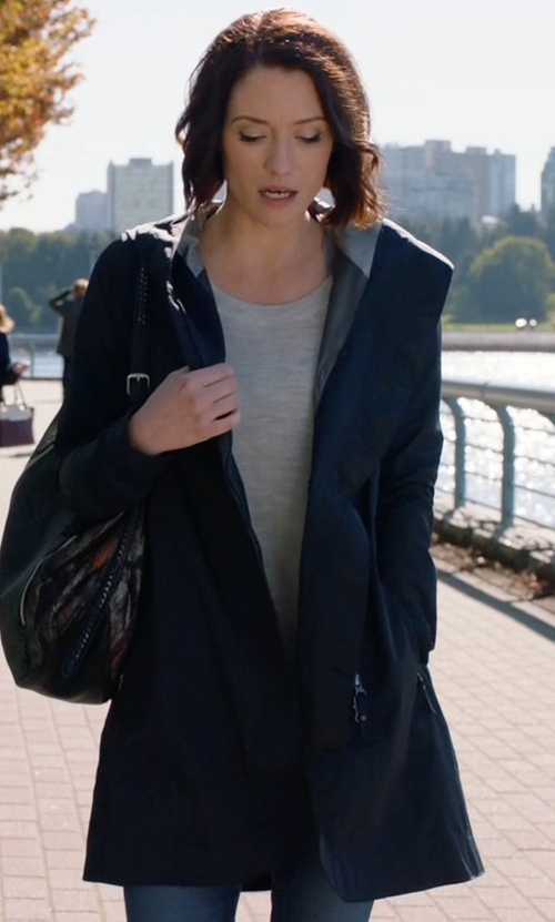 Chyler Leigh with Lululemon Savasna Waterproof Jacket II in Supergirl