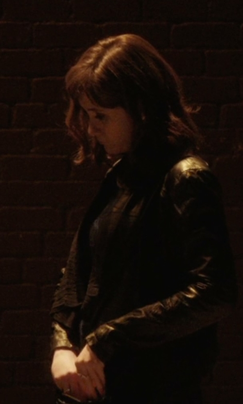 Noël Wells with Bagatelle Ruffled Front-Drape Leather Jacket in Master of None