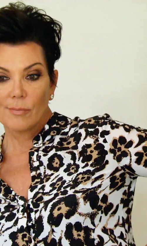 Kris Jenner with Equipment Leopard Print Slim Signature Shirt in Keeping Up With The Kardashians