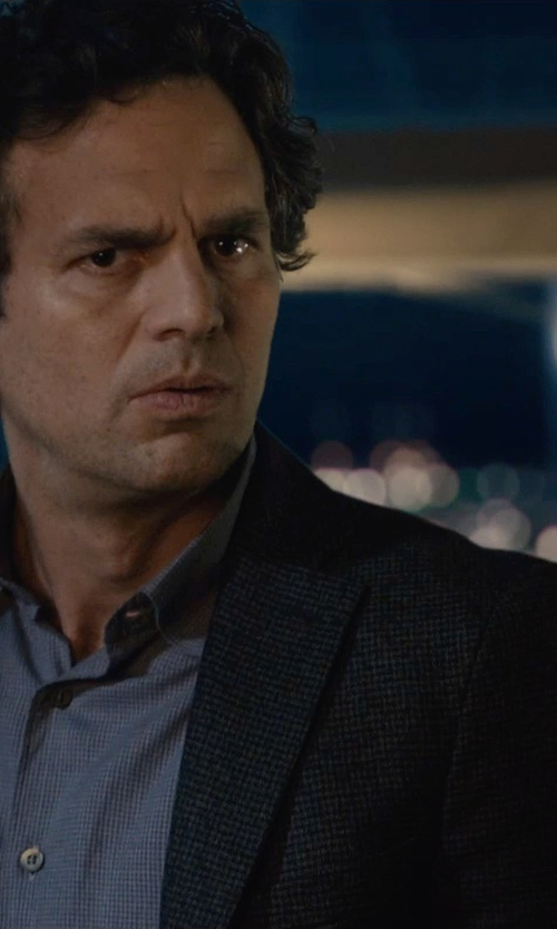 Mark Ruffalo with Jil Sander Two-Button Worsted Suit in Avengers: Age of Ultron