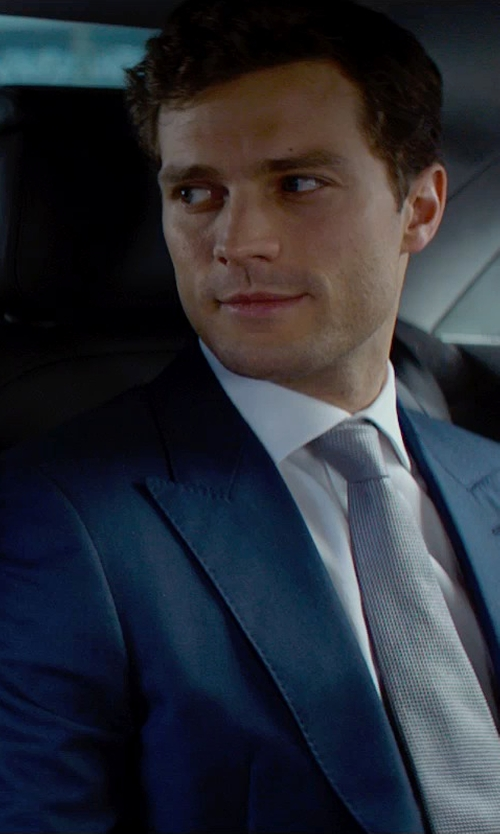 Jamie Dornan with Mark Bridges (Costume Designer) Custom Made Navy Peaked Lapel Suit in Fifty Shades of Grey