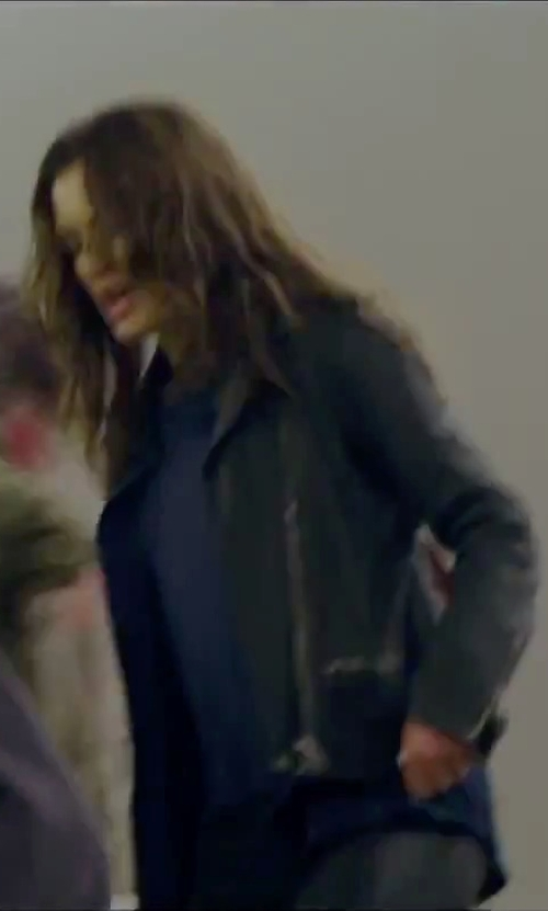 Hannah Ware with Cole Haan Women's Perforated Italian Leather Moto Jacket in Hitman: Agent 47