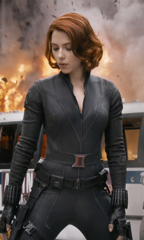 Scarlett Johansson with Alexandra Byrne (Costume Designer) Custom Made Natasha Romanoff / Black Widow Costume (Scarlett Johansson) in Marvel's The Avengers