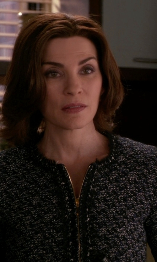 Julianna Margulies with Armani Collezioni Tweed Blazer in The Good Wife