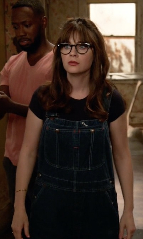 Zooey Deschanel with Urban Outfitters Urban Renewal Vintage Overalls in New Girl