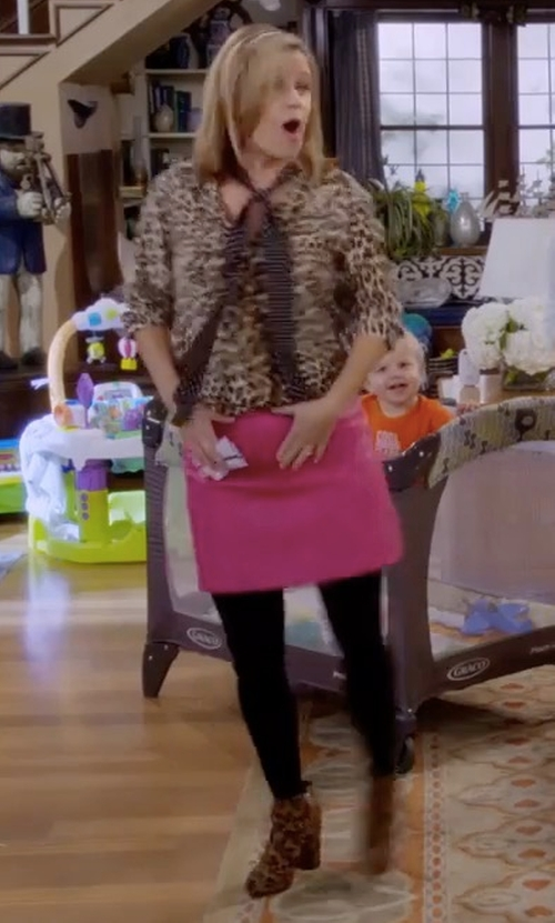 Andrea Barber with Raye Ivy Pony Hair Booties in Fuller House