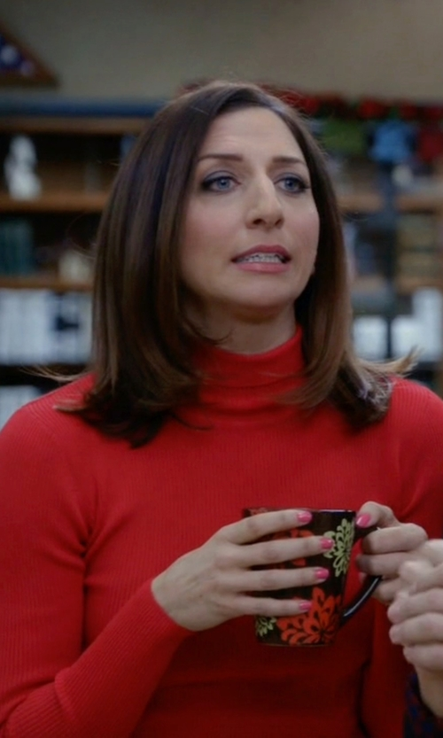 Chelsea Peretti with Sandro Sirine Knitted Turtleneck Jumper in Brooklyn Nine-Nine