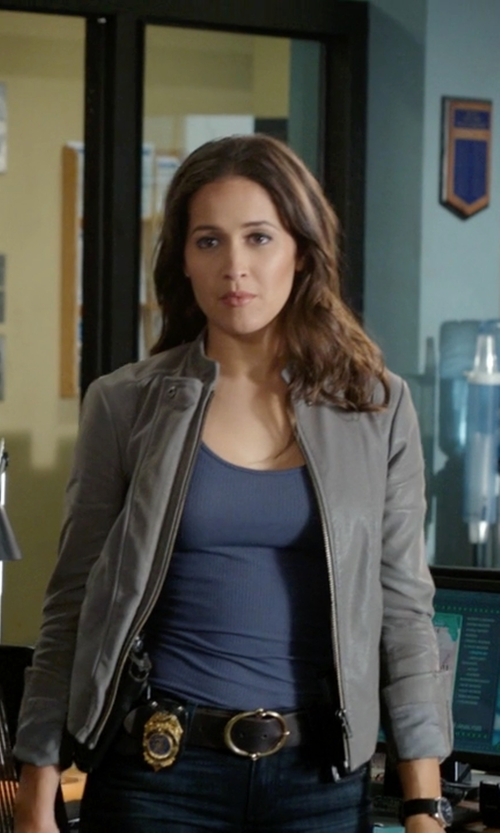 Jaina Lee Ortiz with Free People Faux Leather Jacket in Rosewood
