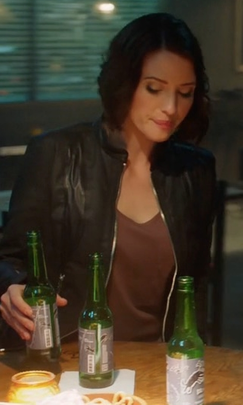 Chyler Leigh with Elizabeth and James Helen Fitted Cropped Leather Jacket in Supergirl