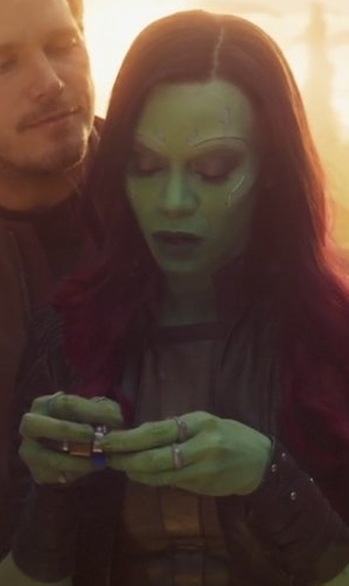 Zoe Saldana with Tiffany Kunz Silver Ring 4 in Guardians of the Galaxy Vol. 2