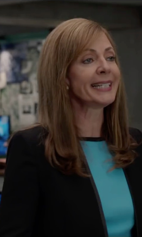 Allison Janney with Maje 'Fun' Leather-Trimmed Blazer in Spy