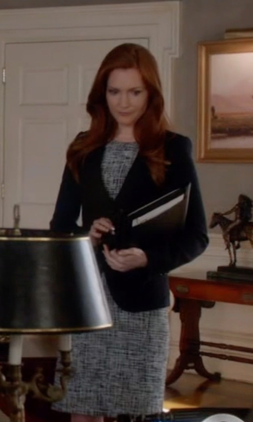Darby Stanchfield with Theory Raneid Tweed Shift Dress in Scandal