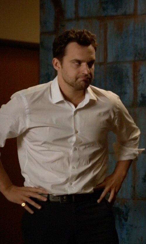 Jake Johnson with Ted Baker Revell Stitched Reversible Belt in New Girl