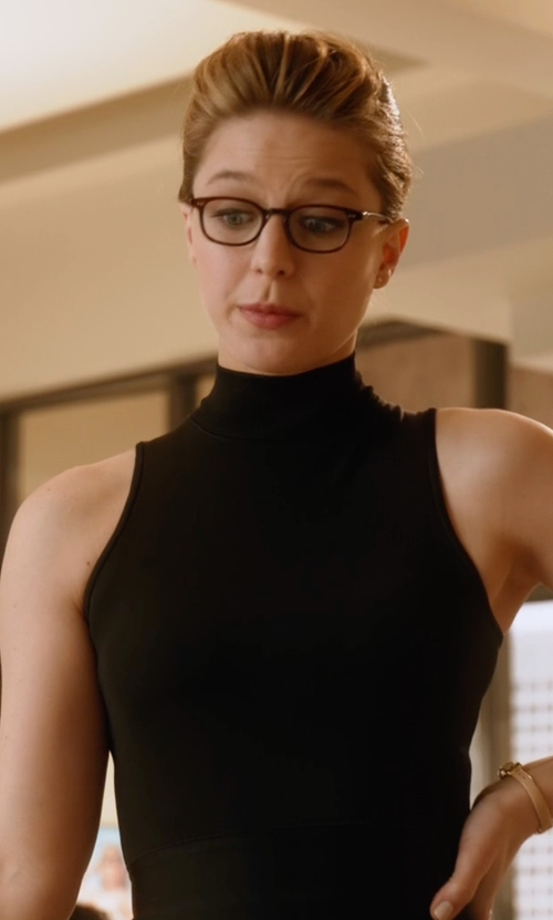 Melissa Benoist with Rag & Bone Lara Sleeveless Mock-Neck Top in Supergirl