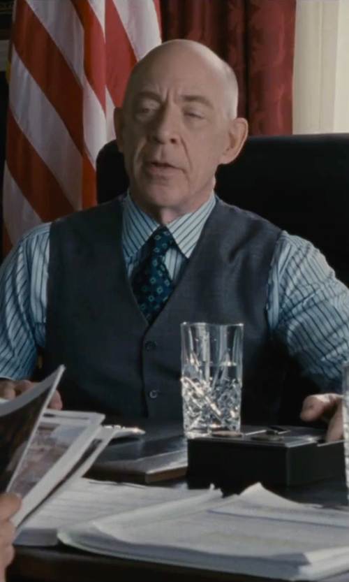 J.K. Simmons with Kiton Diamond Medallion Neck Tie in The Accountant