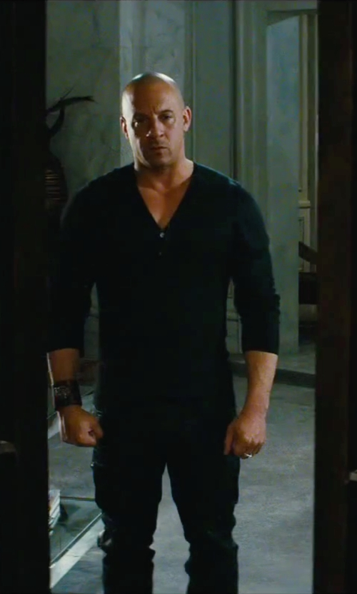Vin Diesel with James Perse Brushed Cotton Henley Shirt in The Last Witch Hunter