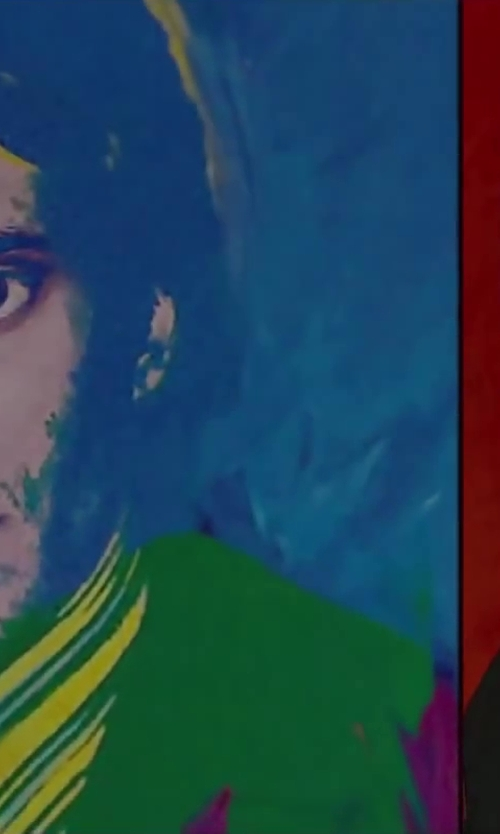 Pierre Niney with Andy Warhol Portrait Panels of Yves Saint Laurent in Yves Saint Laurent