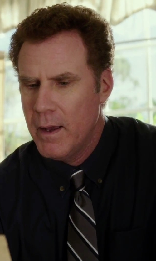 Will Ferrell with Black Brown 1826 Striped Silk Tie in Daddy's Home
