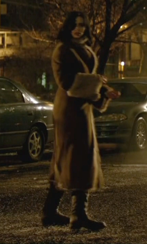 Krysten Ritter with Fabulous Furs Faux Suede And Fur Coat in Jessica Jones
