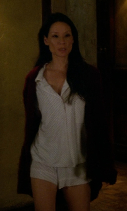 Lucy Liu with Eberjey Sleep Chic Short Sleeve Pajama Set in Elementary