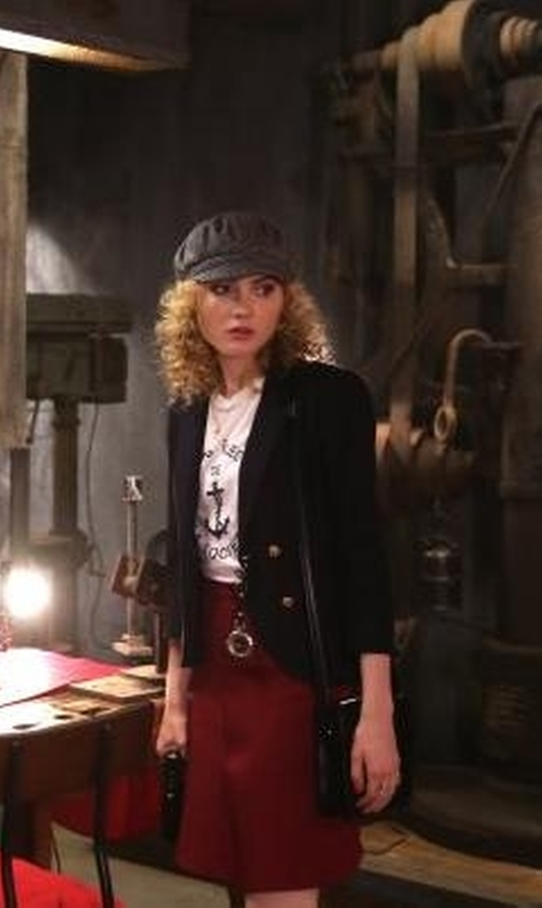 Skyler Samuels with Mauro Grifoni Double Breasted Blazer in Scream Queens
