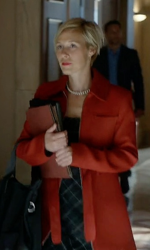 Liza Weil with Lanvin Checked Dress in How To Get Away With Murder
