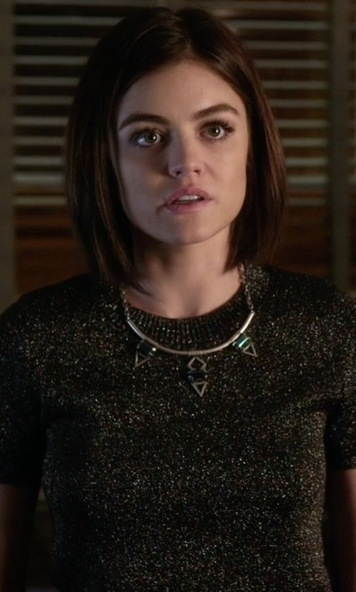 Lucy Hale with Sandro Safa Multicolored Metallic Top in Pretty Little Liars