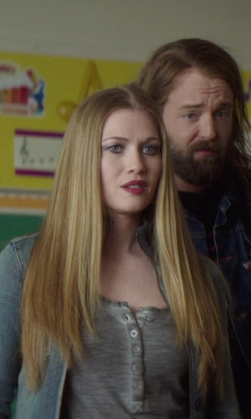 Mireille Enos with 7 For All Mankind Cargo Denim Bomber Jacket in If I Stay