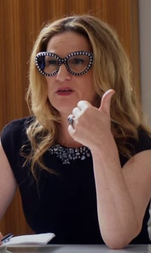 Ana Gasteyer with Prada Modified Studded Cat-Eye Eyeglasses in Lady Dynamite