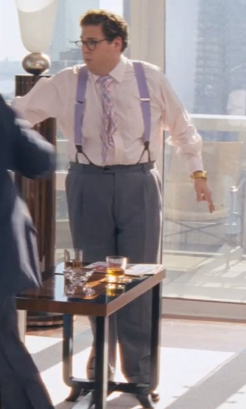 Jonah Hill with Etro Flat-Front Wool Trousers in The Wolf of Wall Street