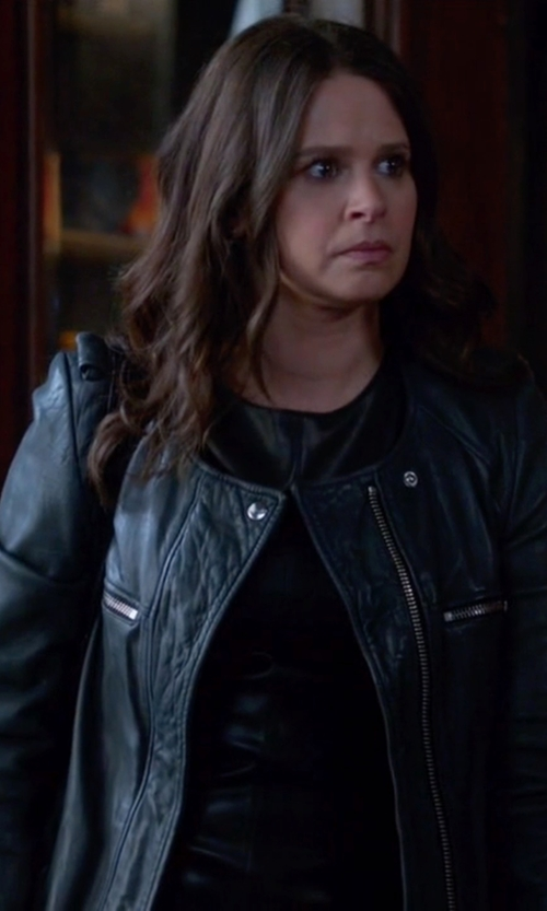Katie Lowes with Isabel Marant Etoile Bacuri Washer Leather Jacket in Scandal