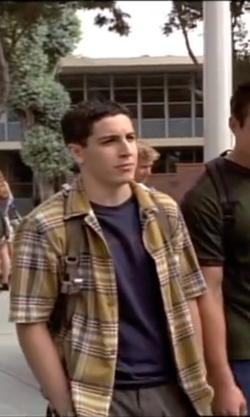 Jason Biggs with Fhnlove Plaid Oxford Short Sleeve Shirt in American Pie