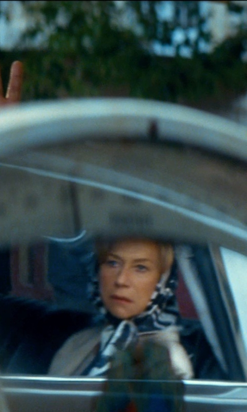 Helen Mirren with Brooks Brothers Satin Deco Square Scarf in The Hundred-Foot Journey