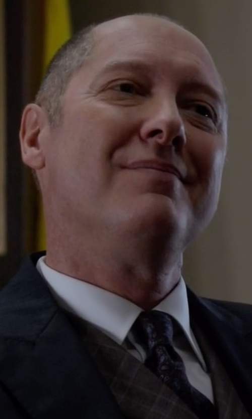 James Spader with Isaia Tonal Paisley-Print Silk Tie in The Blacklist