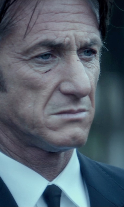 Sean Penn with Polo Ralph Lauren Solid Silk Repp Tie in The Gunman