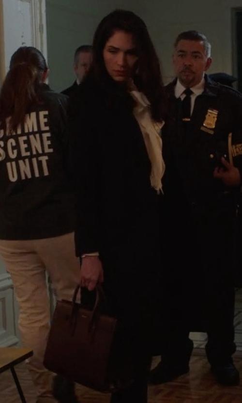 Lela Loren with Saint Laurent Sac De Jour Baby Bonded Tote Bag in Power