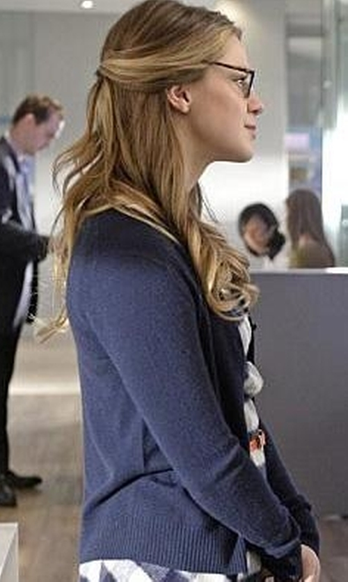 Melissa Benoist with Tory Burch  Merino Wool Cardigan in Supergirl