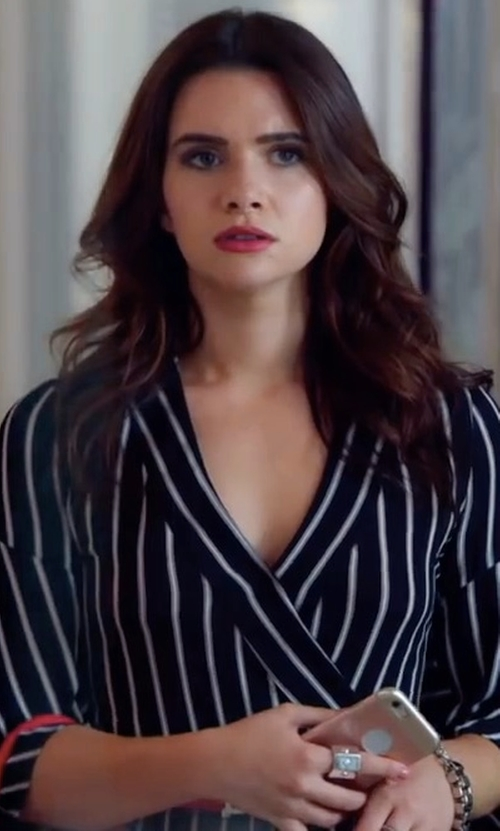 Katie Stevens with Nicholas Striped Short Jumpsuit in The Bold Type