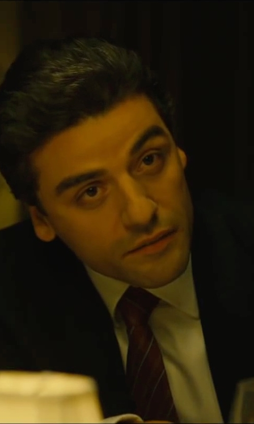 Oscar Isaac with Daniel Cremieux Bump Stripe Silk Necktie in A Most Violent Year