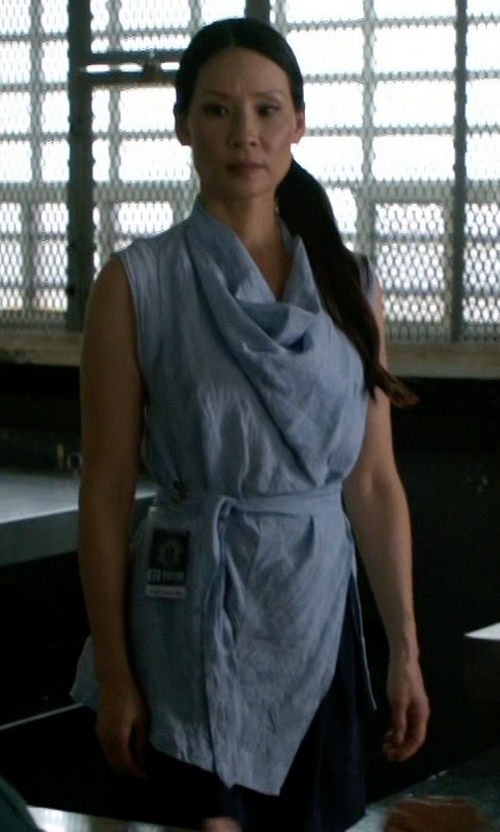 Lucy Liu with Classiques Entier Cowl Neck Silk Blend Top in Elementary