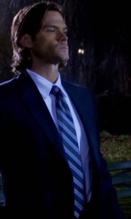 Jared Padalecki with David Donahue Stripe Silk Tie in Supernatural
