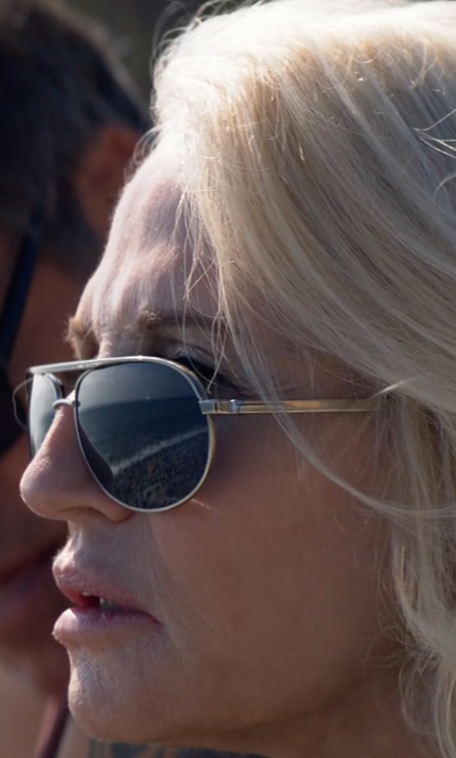 Ellen Barkin with Oliver Peoples Sayer Aviator Sunglasses in Animal Kingdom