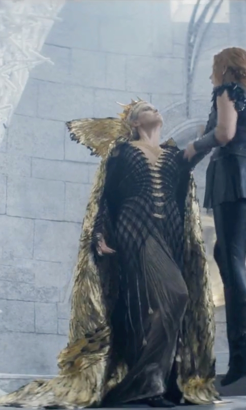 Charlize Theron with Colleen Atwood (Costume Designer) Custom Made 'Ravenna' Caped Gown in The Huntsman: Winter's War